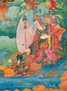 Padmasambhava subjugating a naga king, Nele Thokar. Photo by Thomas Laird, at the Rubin Museum of Himalayan Art.